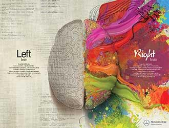 نیمکره چپ مغز نیمکره راست مغز تبلیغ مرسدس بنز