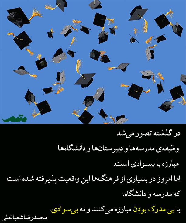 دانشگاه ها با بی مدرک بودن مبارزه میکنند - محمدرضا شعبانعلی - سواد عددی
