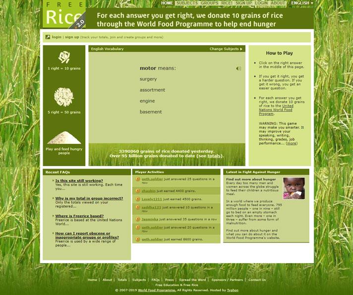 نحوه یادگیری زبان انگلیسی توسط سایت Free Rice