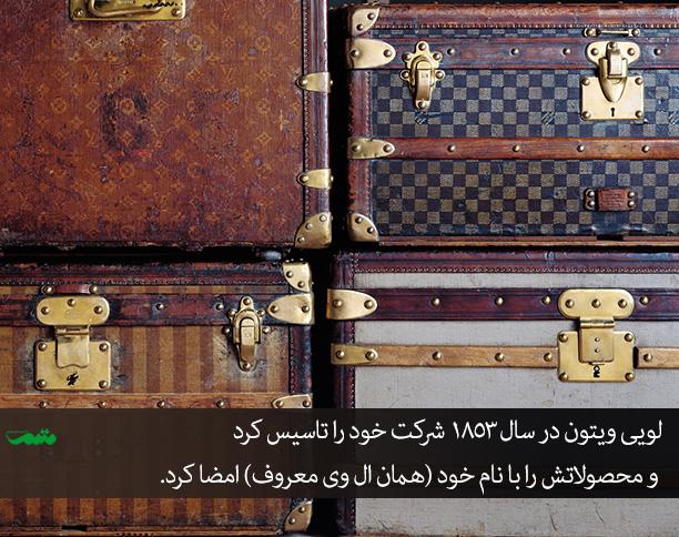 چمدان ها و محصولات اولیه لویی ویتون با همان ال وی معروف امضا میشدند