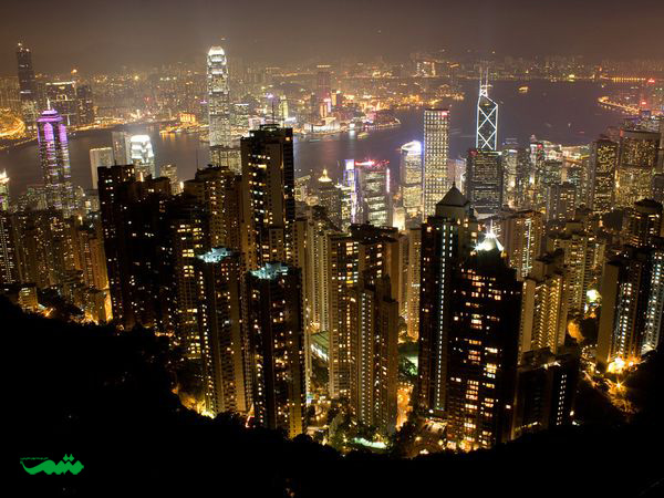 هنگ کنگ در شب - عکس شهر درشب از بالا
