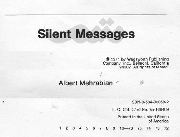 کتاب Silent Message آلبرت محرابیان در مورد زبان بدن