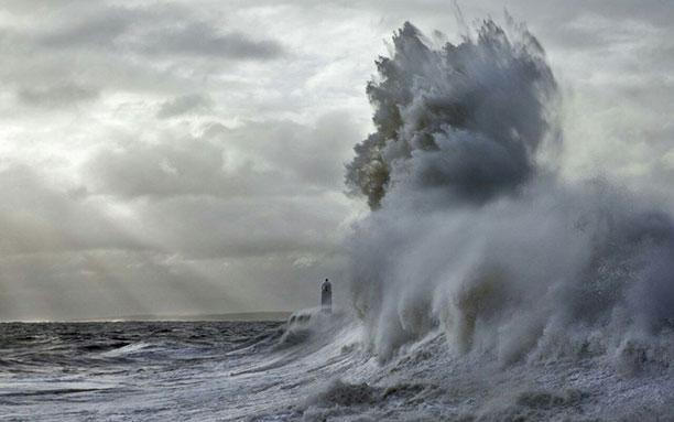 عکس فانون دریایی که در میان موج ها گم شده است