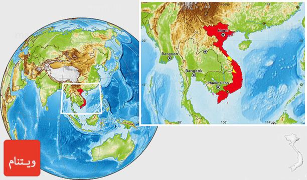 نقشه کشور ویتنام - راهنمای سفر به ویتنام