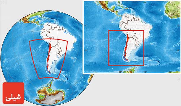 نقشه کشور شیلی - راهنمای سفر به شیلی