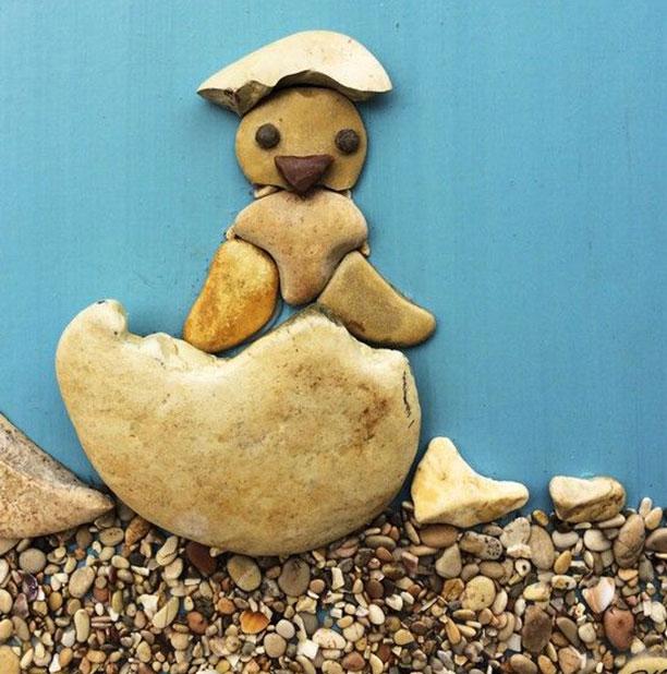 کاردستی با سنگ برای کودکان - کاردستی حیوانات با سنگ ریزه