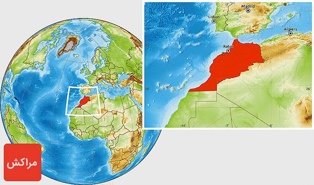نقشه کشور مراکش - راهنمای سفر به مراکش