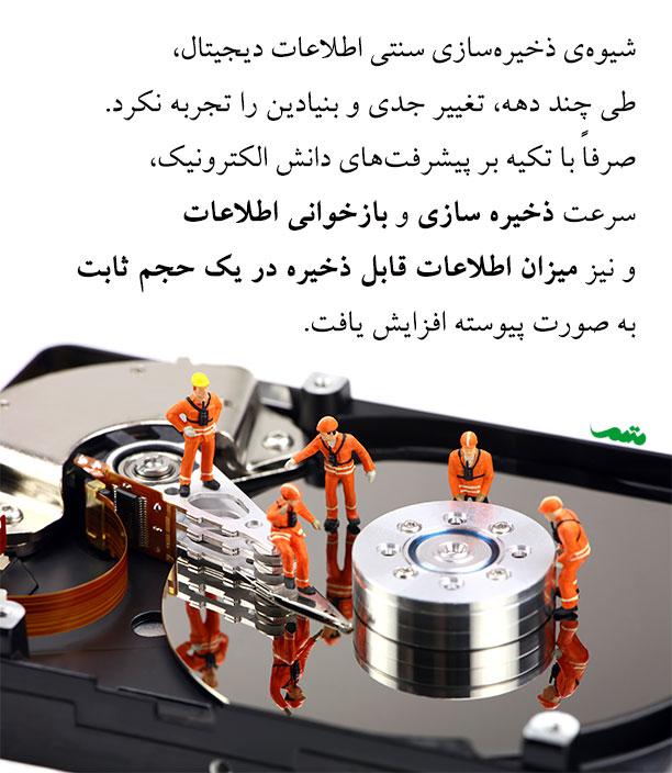 هارد دیسک ها به عنوان نمونهای از ابزارهای ذخیره اطلاعات