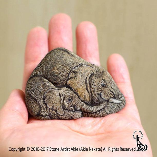 کاردستی حیوانات با سنگ