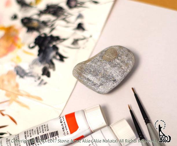 نقاشی روی سنگ با روغن و قلم