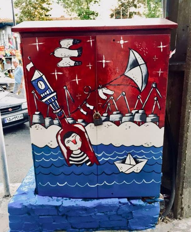 کار هنری پریسا صادقی - نقاشی روی کیوسک های برق فرسوده در شهر بندر انزلی